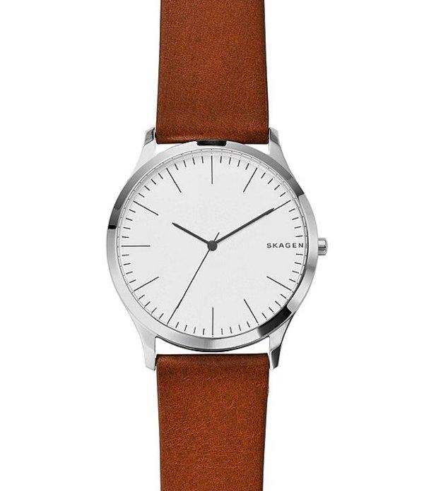 スカーゲン メンズ 腕時計 アクセサリー Jorn Analog Leather-Strap Watch Tan