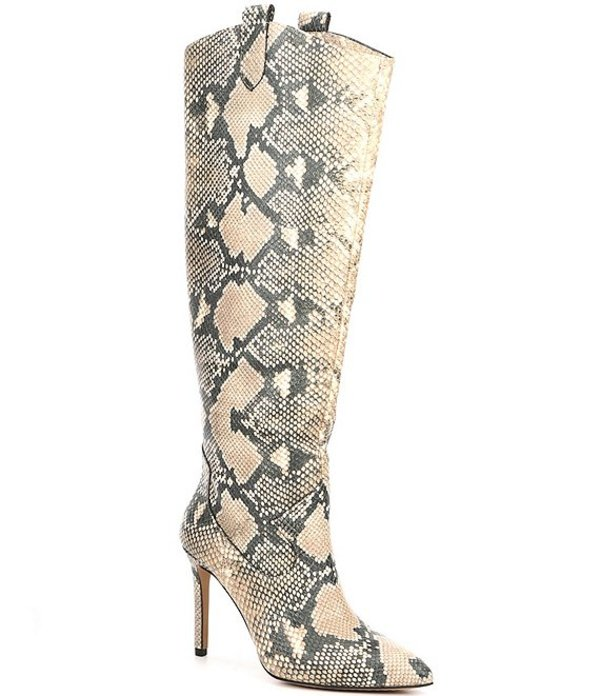 ヴィンスカムート レディース ブーツ・レインブーツ シューズ Kervana Snake Print Leather Western Stovepipe Boots Natural Multi Snake