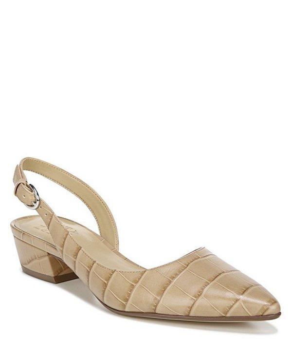 ナチュライザー レディース パンプス シューズ Banks Croco Print Leather Block Heel Sling Pumps Bamboo Croco