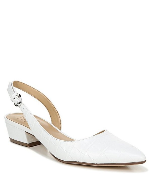 ナチュライザー レディース パンプス シューズ Banks Croco Print Leather Block Heel Sling Pumps White Croco