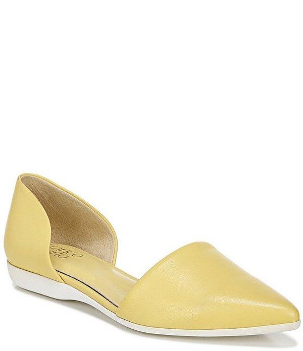フランコサルト レディース サンダル シューズ Darlin d'Orsay Pointed Toe Leather Flats Citron