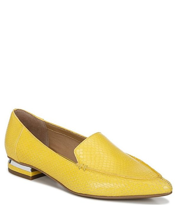 フランコサルト レディース スリッポン・ローファー シューズ Starland Snake Embossed Leather Pointed Toe Loafers Yellow