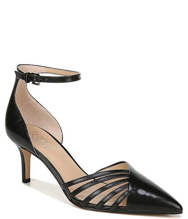 フランコサルト レディース ヒール シューズ Talana Leather Ankle Strap d'Orsay Cut Out Pointed Toe Pumps Black