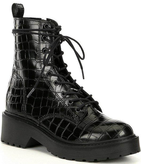 スティーブ マデン レディース ブーツ・レインブーツ シューズ Tornado Croco Print Leather Platform Combat Booties Black Croco