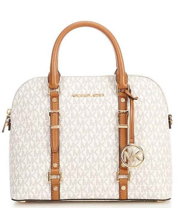 マイケルコース レディース ハンドバッグ バッグ Signature Leather Bedford Legacy Medium Dome Satchel Bag Vanilla/Acorn