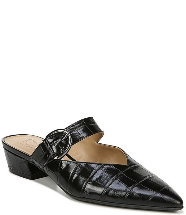 ナチュライザー レディース ヒール シューズ Bess Croco Embossed Leather Pointed Toe Mules Black Leather