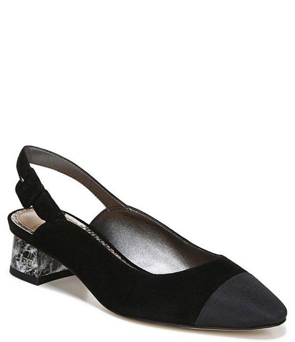 サムエデルマン レディース ヒール シューズ Sadira Suede Slingback Block Heel Pumps Black