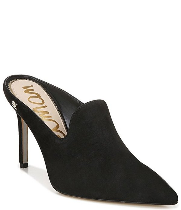 サムエデルマン レディース サンダル シューズ Harlee Suede Pointed Toe Dress Mules Black