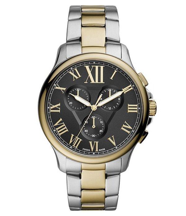フォッシル メンズ 腕時計 アクセサリー Monty Chronograph Two-Tone Stainless Steel Watch Two Tone