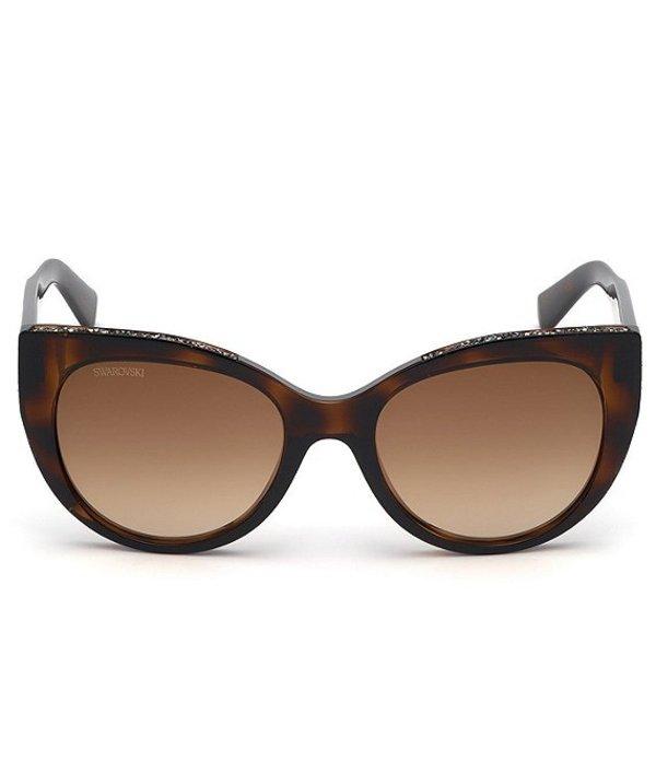 スワロフスキー レディース サングラス・アイウェア アクセサリー Cat Eye Crystal Accented Sunglasses Dark Havana