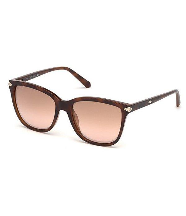 スワロフスキー レディース サングラス・アイウェア アクセサリー Square Crystal Detail Sunglasses Dark Havana