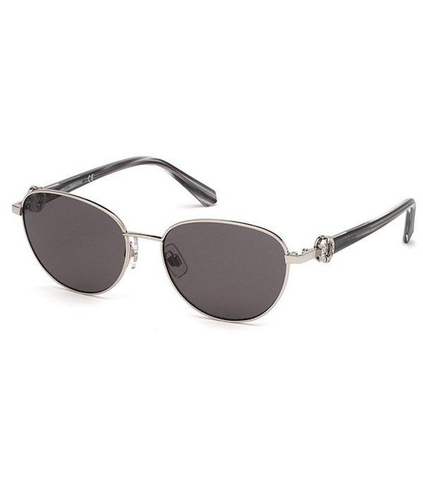 スワロフスキー レディース サングラス・アイウェア アクセサリー Small Round Metal Sunglasses Grey