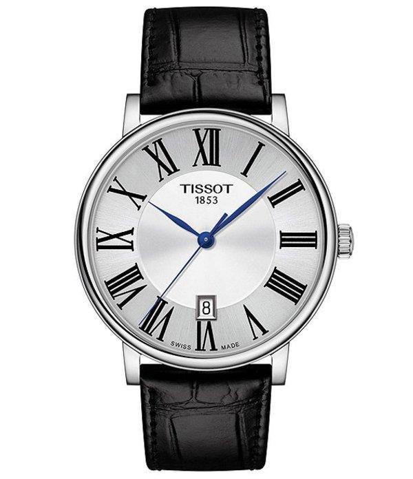ティソット メンズ 腕時計 アクセサリー Men's Carson Premium Black Leather Strap Watch Black