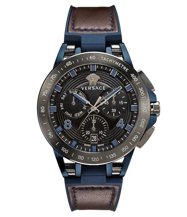 ヴェルサーチ メンズ 腕時計 アクセサリー Quartz Sport Tech Chronograph Brown Rubber Watch Brown