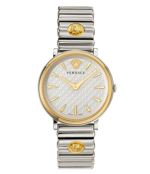 ヴェルサーチ メンズ ブレスレット・バングル・アンクレット アクセサリー Quartz V Circle Logomania Edition Stainless Steel Bracelet Watch Two Tone