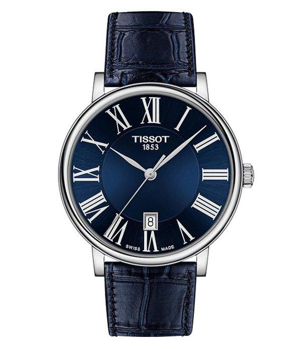 ティソット メンズ 腕時計 アクセサリー Carson Premium Blue Leather Strap Watch Blue
