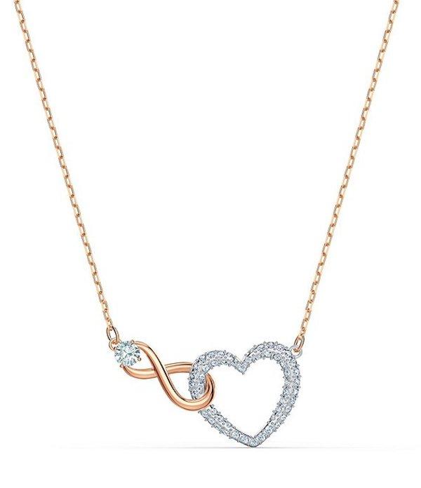 スワロフスキー レディース ネックレス・チョーカー アクセサリー Crystal Infinity Heart Necklace Rose Gold
