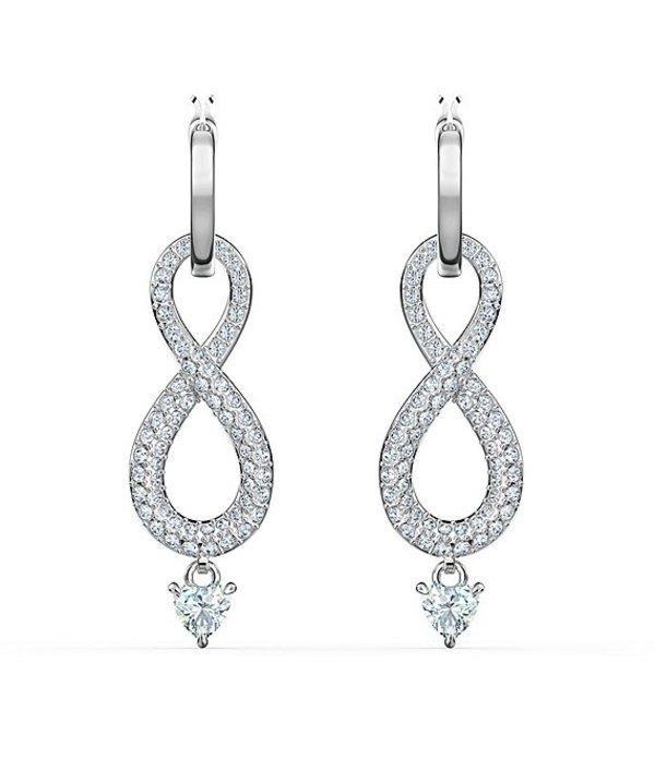 スワロフスキー レディース ピアス・イヤリング アクセサリー Crystal Infinity Pierced Drop Earrings Silver/Crystal