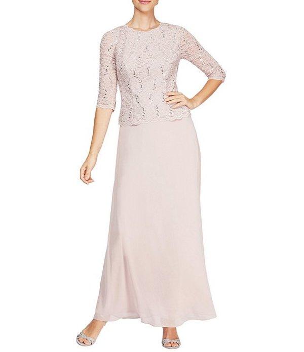 アレックスイブニングス レディース ワンピース トップス Petite Sequined Lace-Bodice Gown Shell Pink