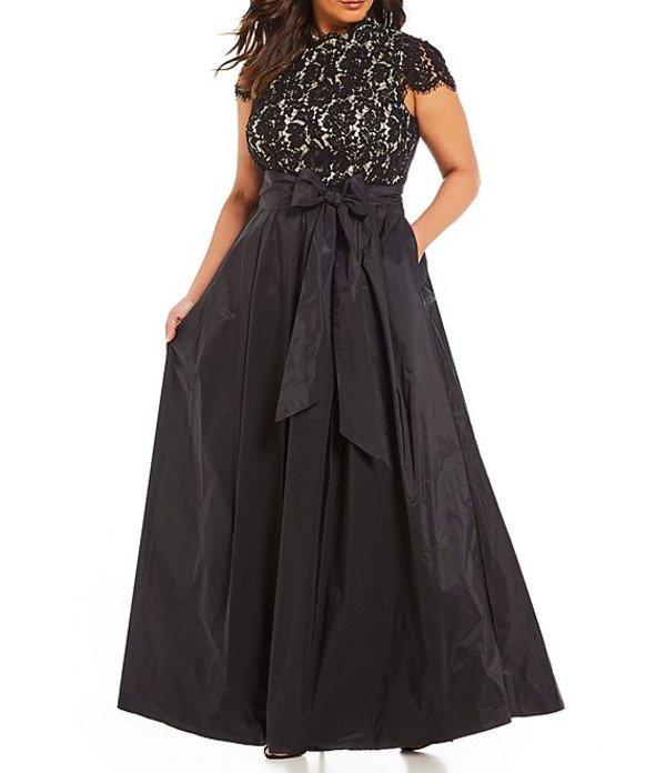 エリザジェイ レディース ワンピース トップス Plus Size Cap Sleeve Lace Bodice Bow Waist Pleated Skirt Ballgown Black