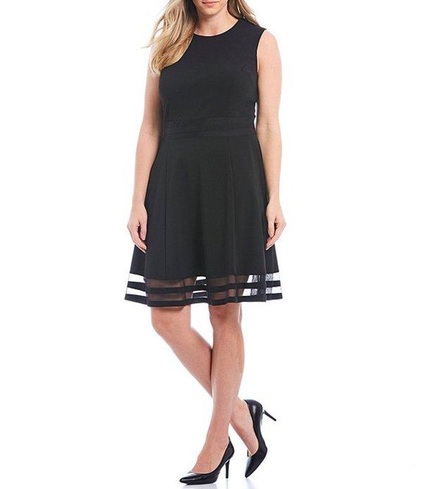 カルバンクライン レディース ワンピース トップス Plus Size Mesh Illusion Hem Detail Stretch Dress Black