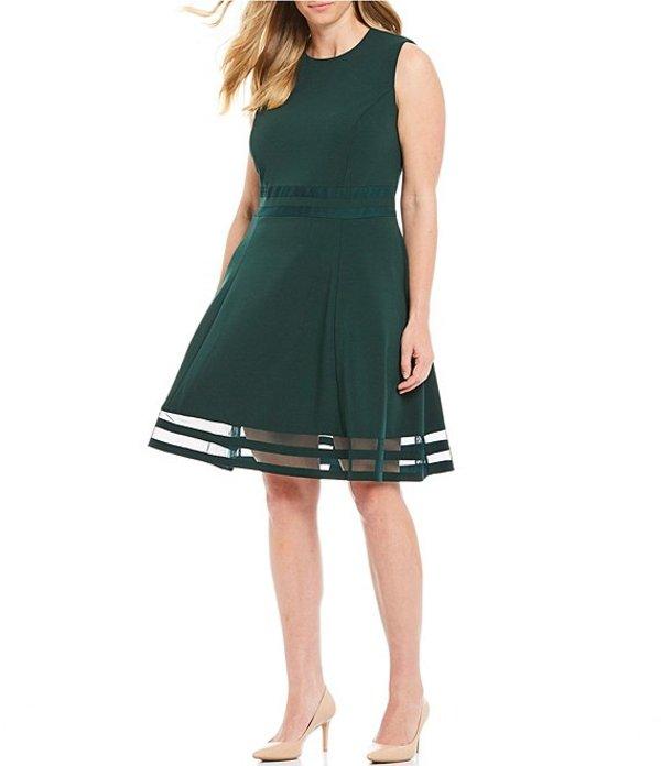 カルバンクライン レディース ワンピース トップス Plus Size Mesh Illusion Hem Detail Stretch Dress Malachite
