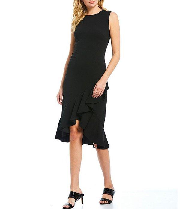 カルバンクライン レディース ワンピース トップス Sleeveless Asymmetric Ruffle Hem Midi Length Sheath Dress Black