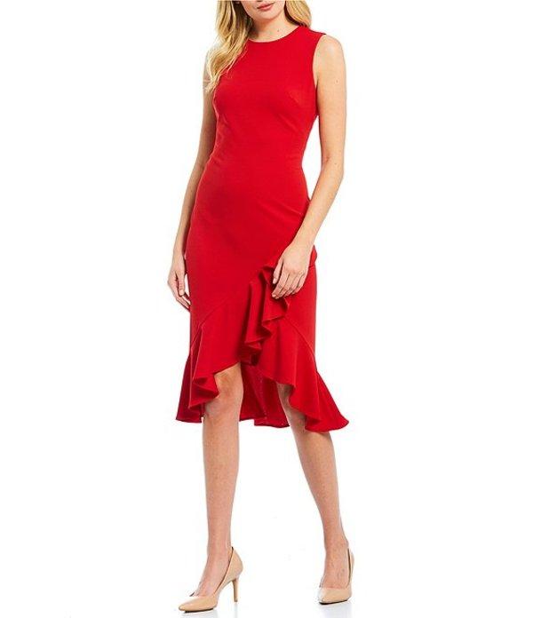 カルバンクライン レディース ワンピース トップス Sleeveless Asymmetric Ruffle Hem Midi Length Sheath Dress Red