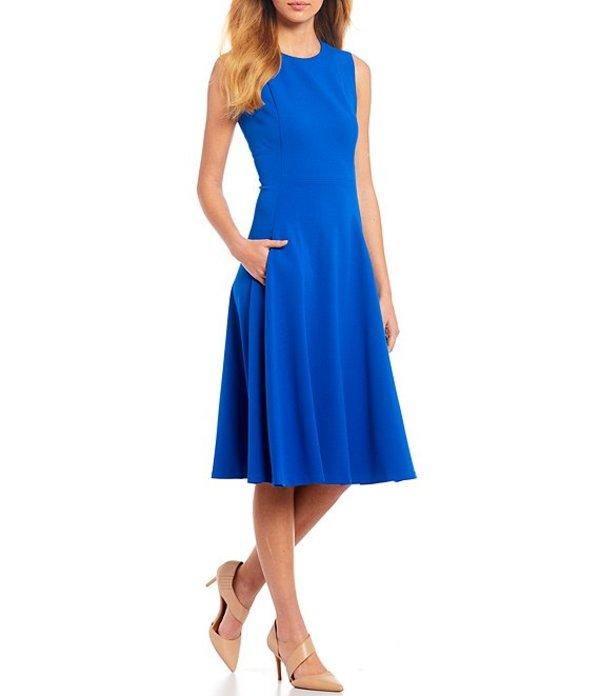 カルバンクライン レディース ワンピース トップス Sleeveless Solid Pocket A-Line Below The Knee Dress Capri