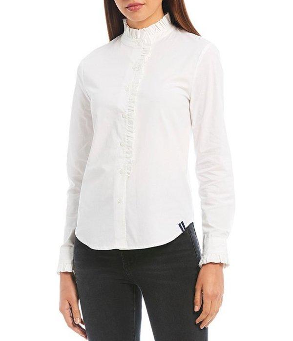 コート&ロー レディース シャツ トップス Long Sleeve Ruffle Trim Cotton Blend Poplin Button Front Shirt Ultra White