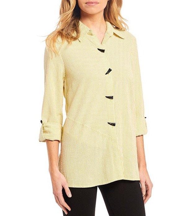 アリ マイルス レディース シャツ トップス Crinkle Cotton Seersucker Stripe 3/4 Roll Tab Sleeve Tunic Citrine