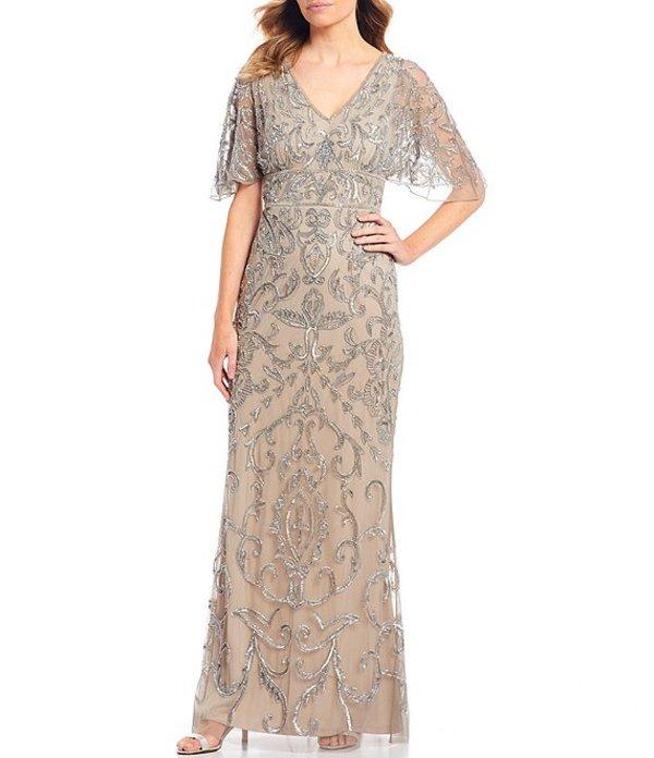 アドリアナ パペル レディース ワンピース トップス Sequin Beaded Capelet Sleeve Gown Platinum