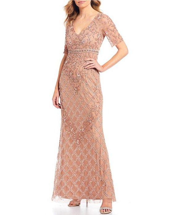 アドリアナ パペル レディース ワンピース トップス V-Neck Beaded Mermaid Gown Rose Gold