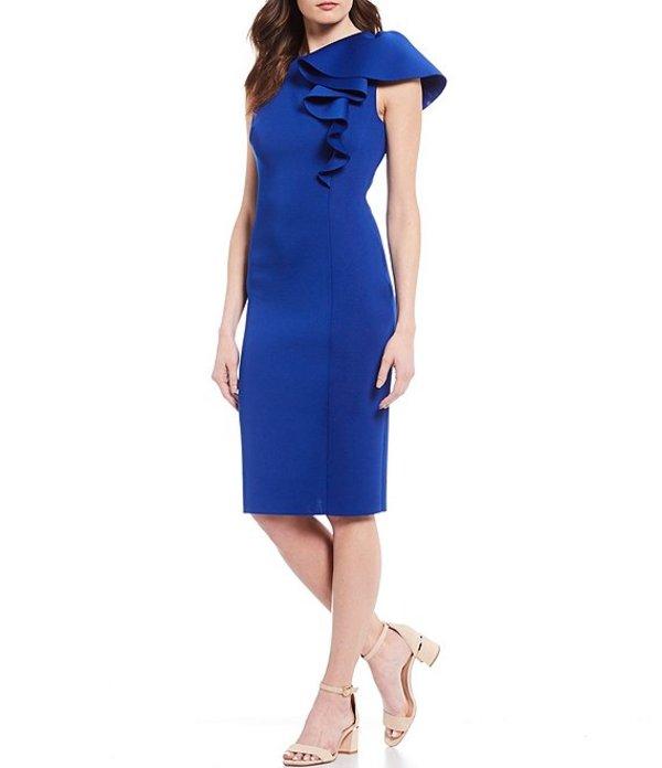 エリザジェイ レディース ワンピース トップス 3D Ruffle Sleeve Scuba Sheath Dress Cobalt