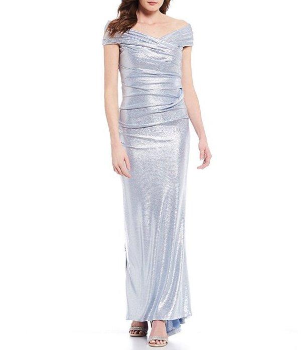 エリザジェイ レディース ワンピース トップス Off-the-Shoulder Cap Sleeve Ruched Metallic Gown Blue Silver