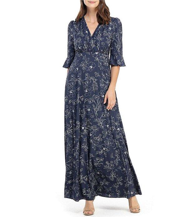 ギャルミーツグラム レディース ワンピース トップス Irene Floral Print Bodice Wrap Maxi Dress Sapphire/Stone