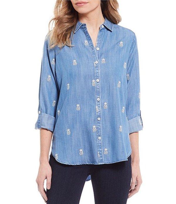 フォックスクラフト レディース シャツ トップス Carmen Embroidered Pineapple Button Front Shirt Light Denim