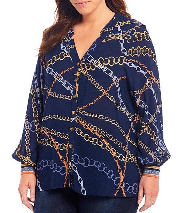 デモクラシー レディース シャツ トップス Plus Size Chain Print V-Neck Button Down Long Sleeve Shirt Navy Multi