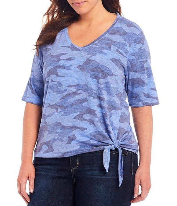 デモクラシー レディース Tシャツ トップス Plus Size Camo Print V-Neck Elbow Sleeve Side Tie Tee Stella Blue