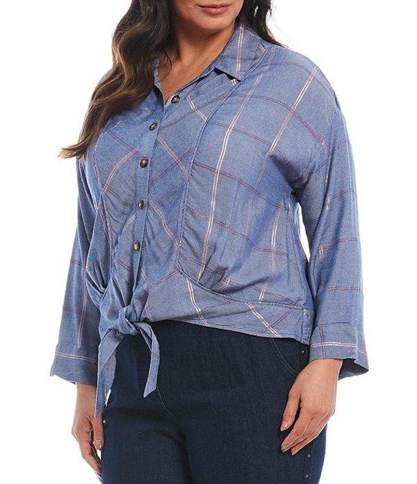 デモクラシー レディース シャツ トップス Plus Size Plaid Print Piped Seam Button-Up Tie Front Top Blue