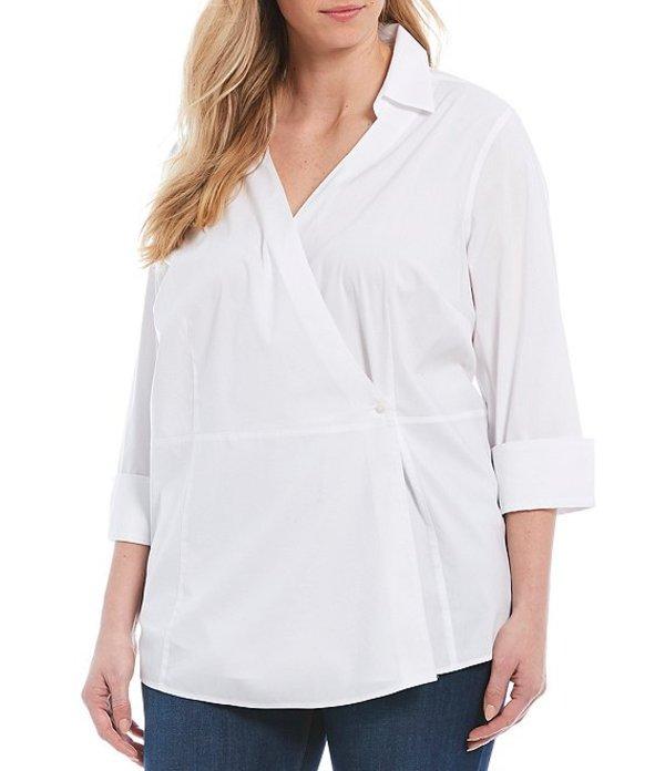 フォックスクラフト レディース シャツ トップス Plus Size Solista Wrap Front 3/4 Sleeve Non-Iron Stretch Tunic White