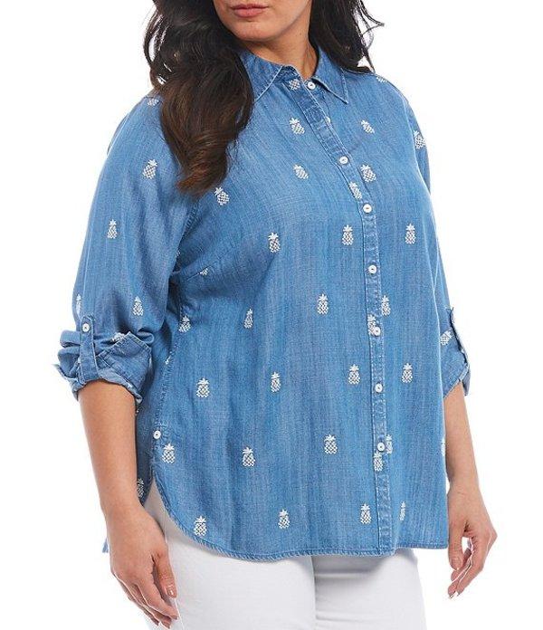 フォックスクラフト レディース シャツ トップス Plus Size Carmen Pineapple Embroidered Button Front Shirt Light Denim