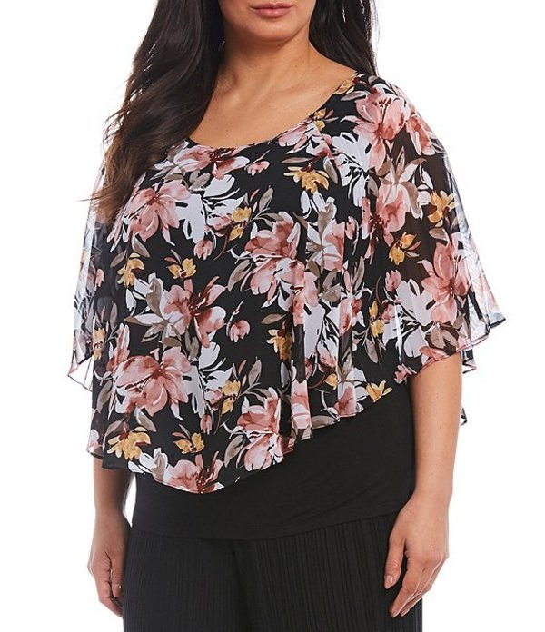 アイエヌ スタジオ レディース シャツ トップス Plus Size Watercolor Floral Print Scoop Neck Popover Top Watercolor Floral