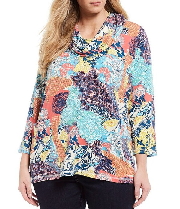 アリ マイルス レディース Tシャツ トップス Plus Size Brushed Knit Cowl Neck 3/4 Sleeve Tunic Multi