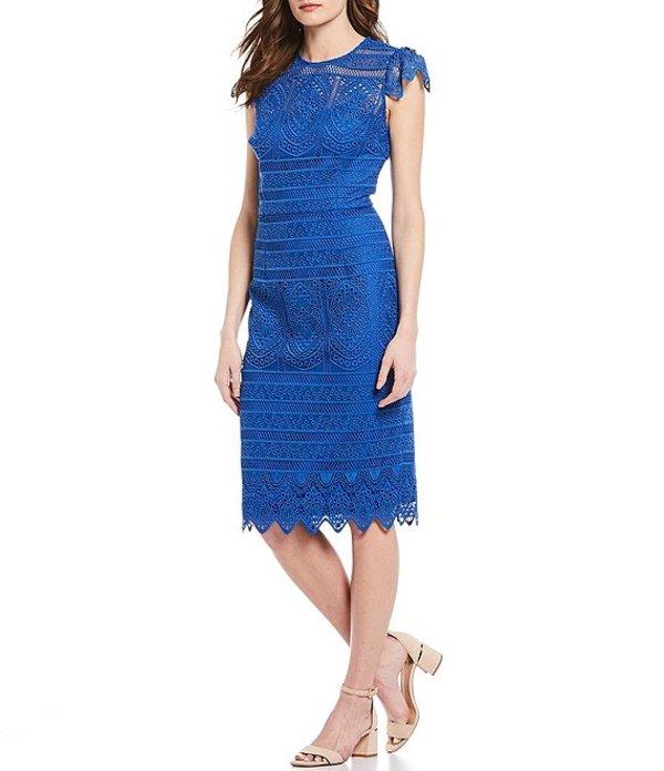 アントニオ メラーニ レディース ワンピース トップス Kelly Embroidered Lace Scallop Hem Sheath Dress Bay Blue