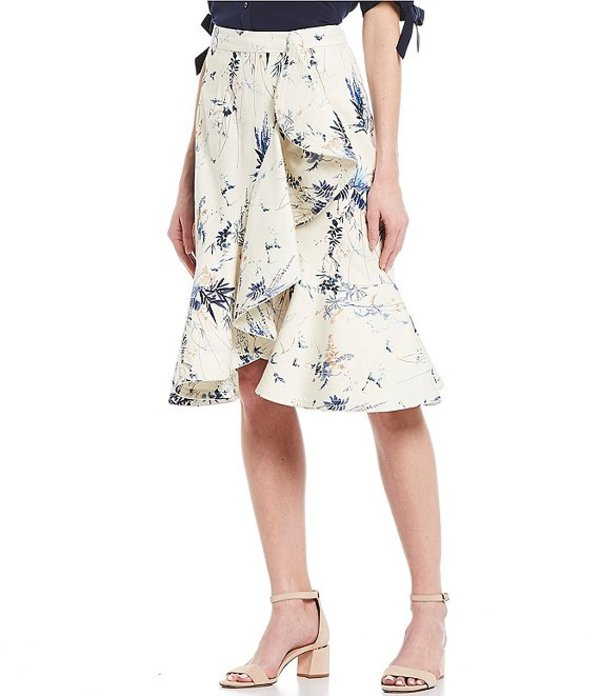 アントニオ メラーニ レディース スカート ボトムス Maria Floral Print Cotton Blend Sateen Faux-Wrap Side Ruffle Midi Skirt Ivory/Bay Blue