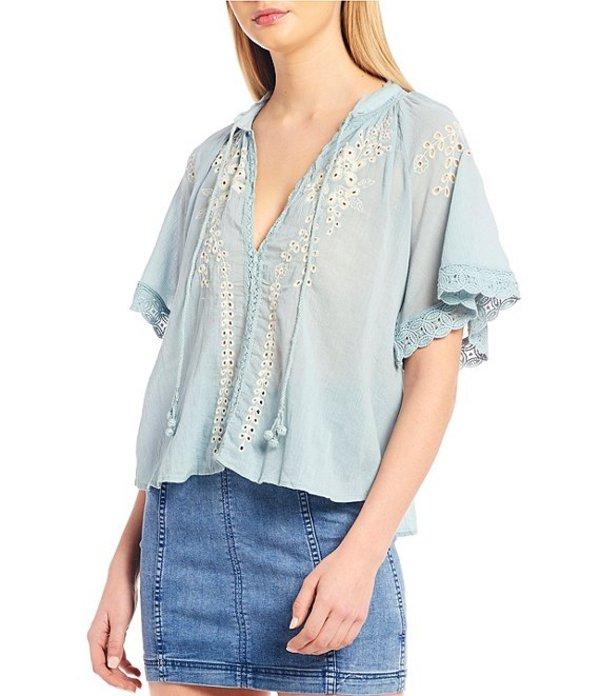 フリーピープル レディース シャツ トップス Dahlia Embroidered Short Sleeve Blouse Interlude Blue Combo