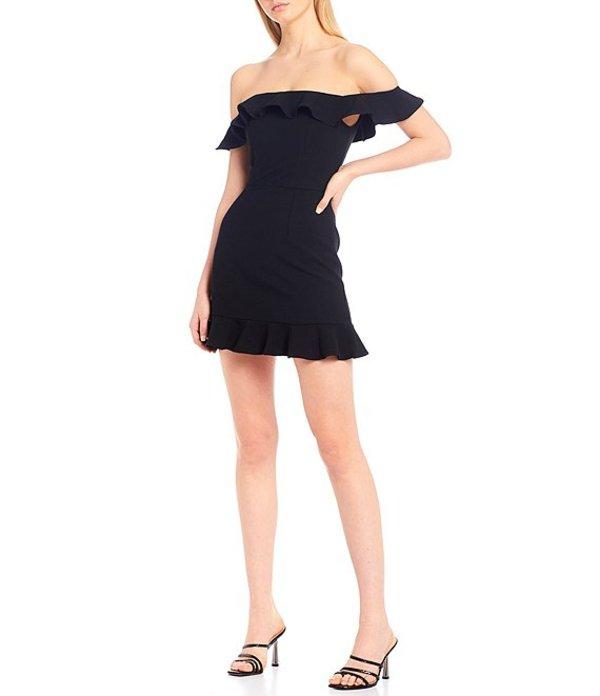 フレンチコネクション レディース ワンピース トップス Ruffle Off-The-Shoulder Dress Black
