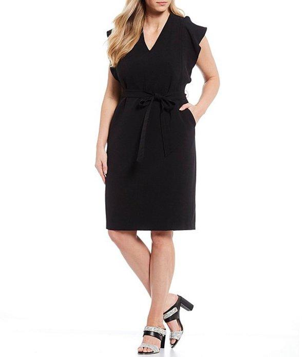エリザジェイ レディース ワンピース トップス Plus Size Flutter Sleeve Crepe Tie Waist Sheath Dress Black