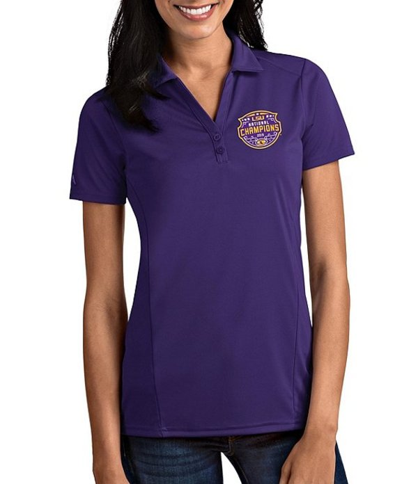 アンティグア レディース Tシャツ トップス Women's NCAA 2019 National Champions LSU Tigers Tribute Short-Sleeve Polo Shirt LSU Tigers Dark Purple